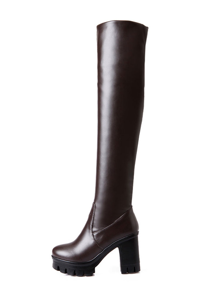 Milanoo Thigh High Boots Womens PU Round Toe Chunky Heel Over The Knee Boots