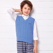 Boys Graphic Detail Cable Knit Sweater Vest