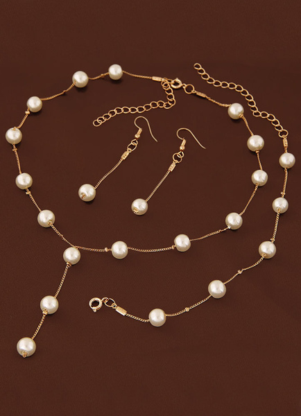 Milanoo Wedding Jewelry Set Pearl Necklace With Bracelet And Earring Gold Bridal Accessories In 3 Piece