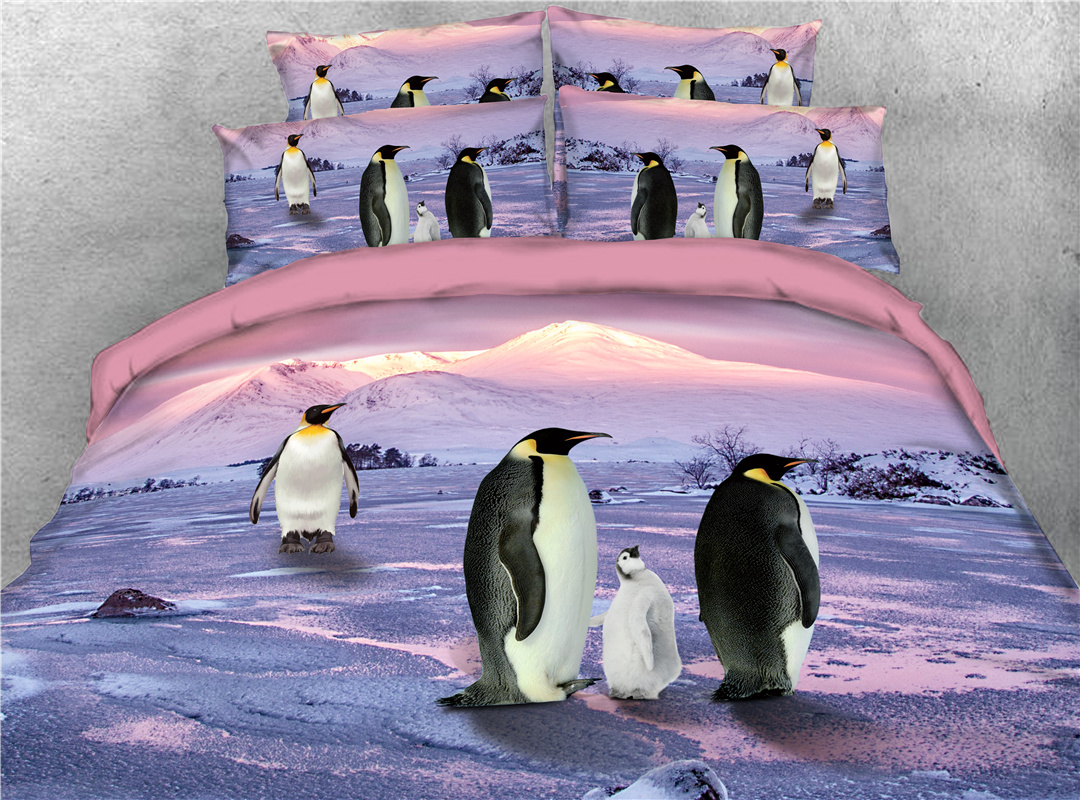 Penguins Family 3D Animal Printed 4-Piece Bedding Sets with Hidden Zipper Duvet Cover Envelope Pillowcases and Dusty Rose Sheet