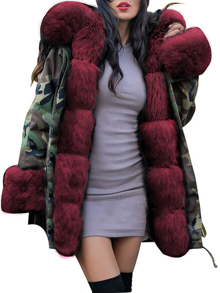 Milanoo Puffer Coats Hooded Zipper Long Sleeves Camouflage Casual Winter Coat Outerwear