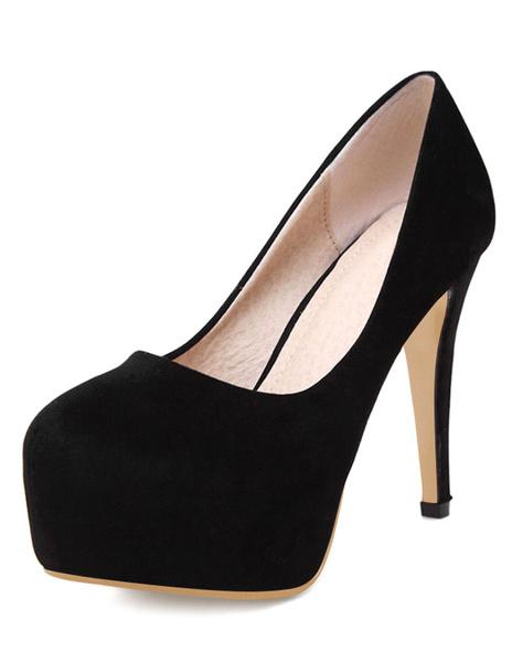 Milanoo Women's Red Platform Heels Suede Round Toe Slip On Pumps Heeled Shoes