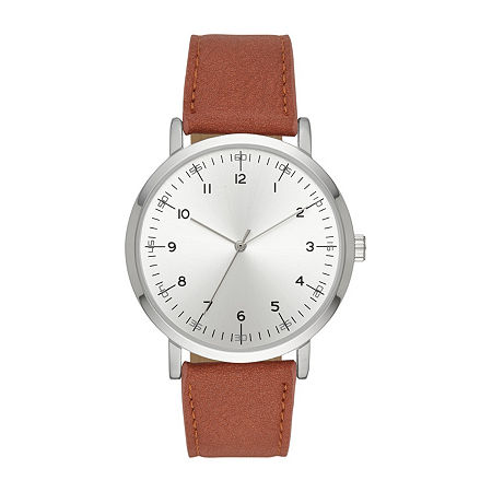 Mens Brown Strap Watch-Fmdjo146, One Size , No Color Family