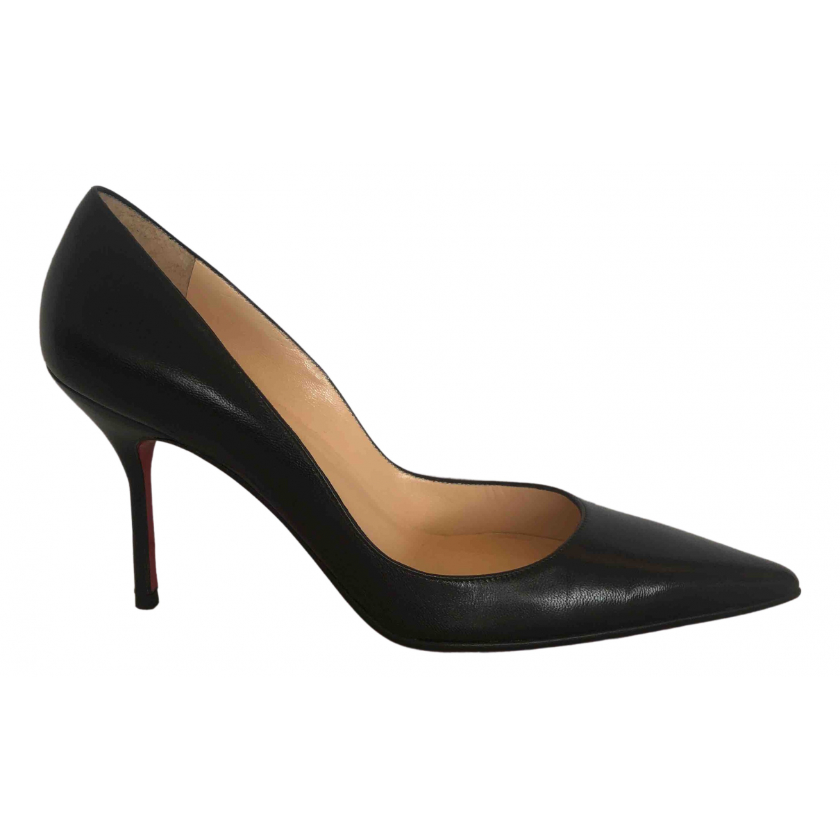 Christian Louboutin Simple pump Black Leather Heels for Women 37.5 EU