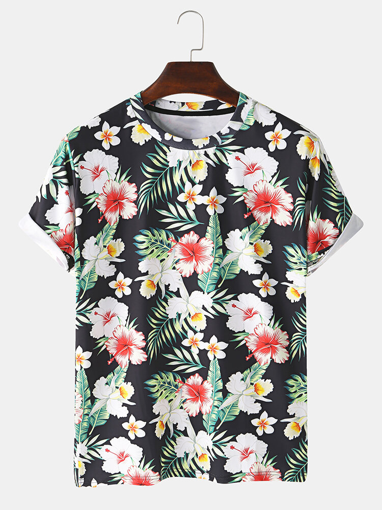 Mens 3D Floral Printed Round Neck Casual Short Sleeve T-shirts