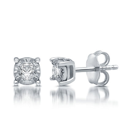 1/5 CT. T.W. Genuine White Diamond Sterling Silver 5.7mm Stud Earrings, One Size , No Color Family