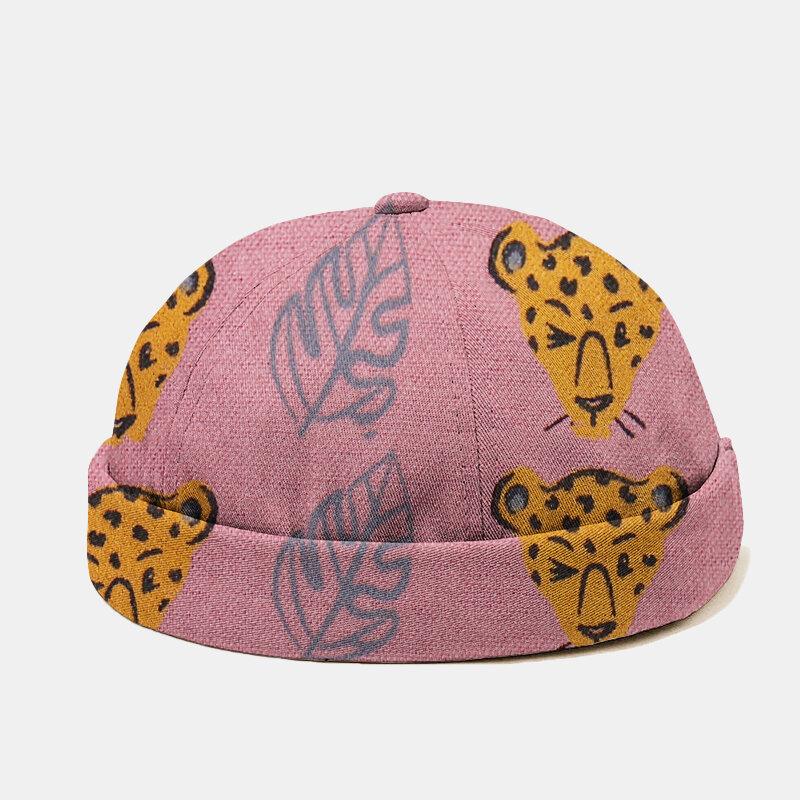 Men & Women Leopard Leaf Cute Pattern Casual Beanie Landlord Cap Skull Cap