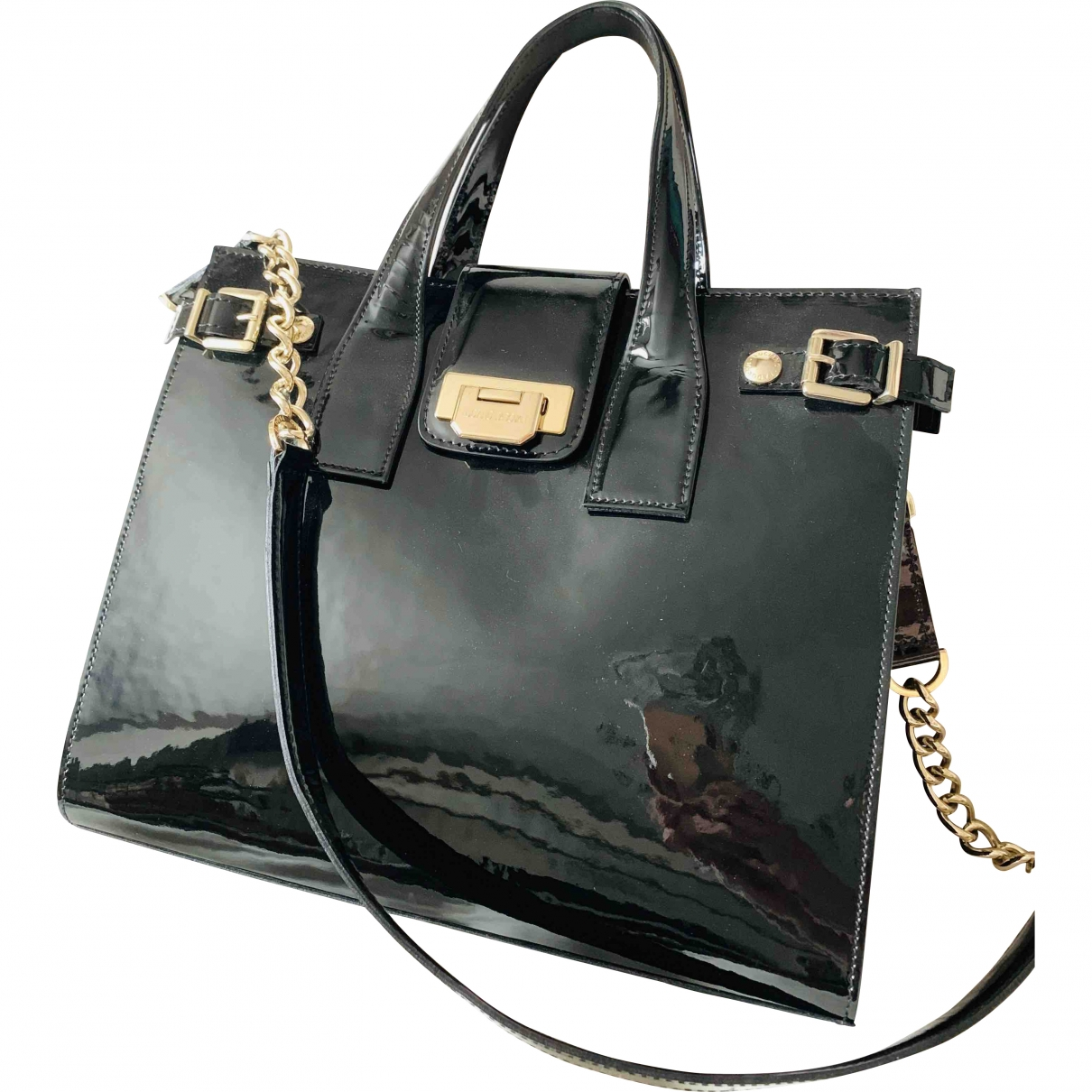 Luciano Padovan \N Black Patent leather handbag for Women \N