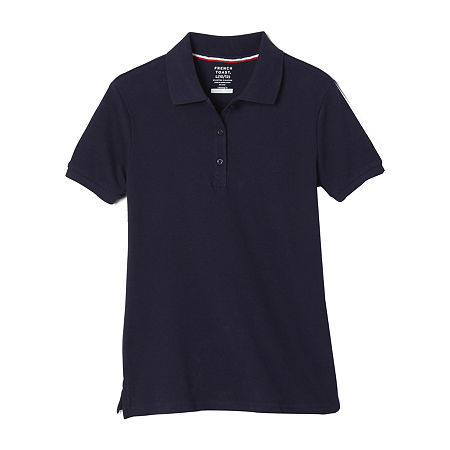 French Toast Little & Big Girls Short Sleeve Polo Shirt, Small , Blue