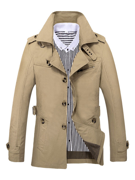 Milanoo Men Khaki Overoat Turndown Colloar Long Sleeve Plus Size Trench Coat 3 Buttoned Overcoat Cotton