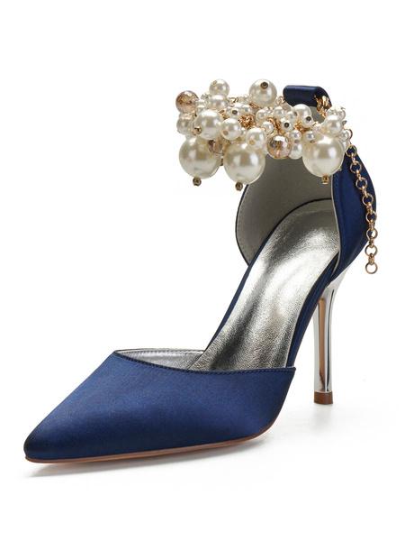 Milanoo Wedding Shoes Satin Deep Purple Pointed Toe Pearls Stiletto Heel High Bridal Shoes