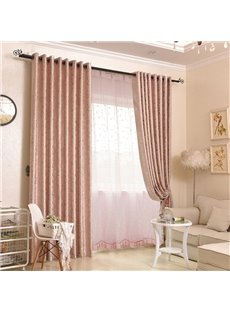 Modern Style Pink Voile Jacquard Polyester Decorative Sheer Curtains