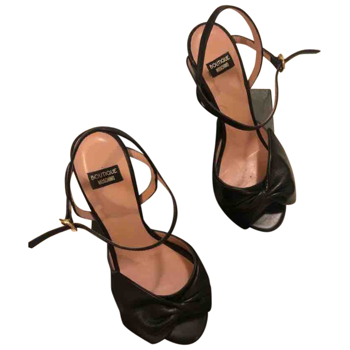 Moschino \N Black Leather Sandals for Women 36 EU