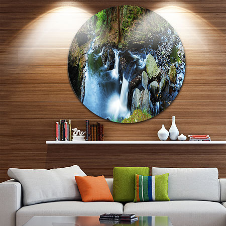Design Art Creek with Hiking Trail Panorama Landscape Photography Circle Metal Wall Art, One Size , Blue