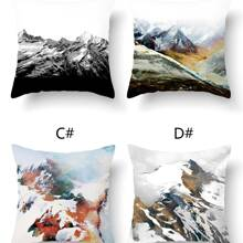 1pc Mountain Print Cushion Cover Without Filler