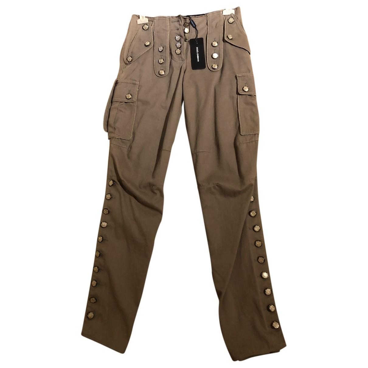 Dolce & Gabbana \N Khaki Cotton Trousers for Women 36 IT