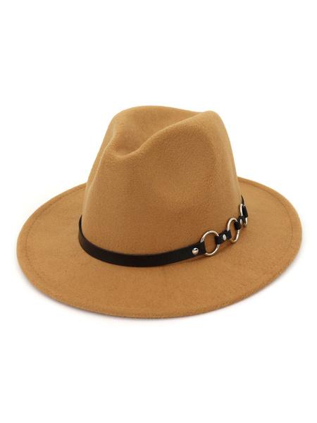 Milanoo Men Wool Hat Metal Detail Brown Fedora Bowler Hat