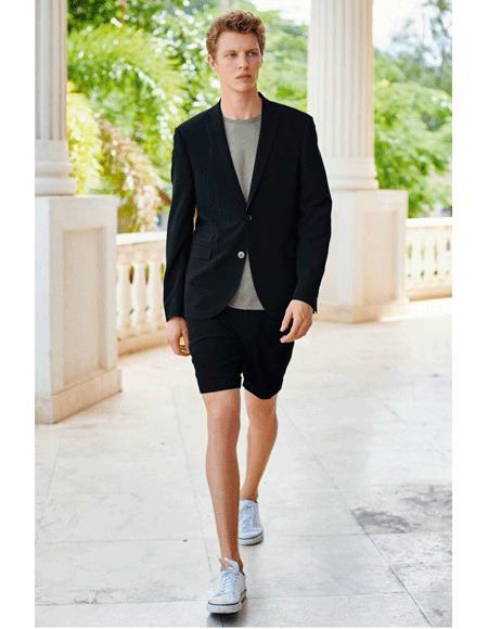 Men's Summer Business Suits With Shorts Pants Set Black