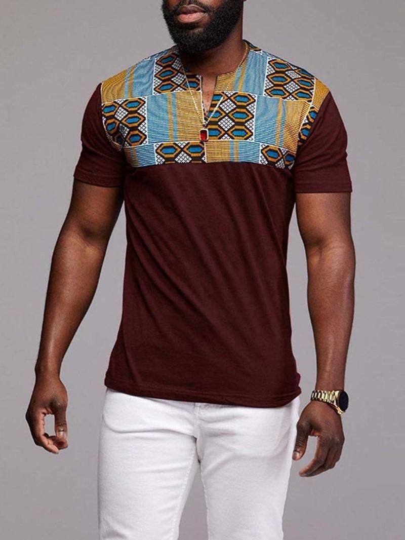 Ericdress Print Casual Geometric Short Sleeve Men's Slim T-shirt
