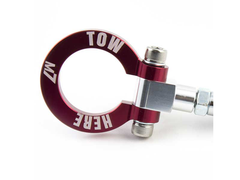 M7 Speed 5356-1M7301 Red Billet Aluminum Foldable Tow Hook with Logo Mini Cooper R53 02-06