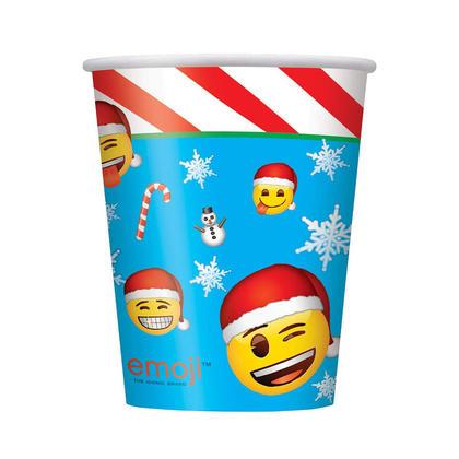 9 oz père Noël chapeaux emoji Tasses en papier de Noël, 8pcs / pack