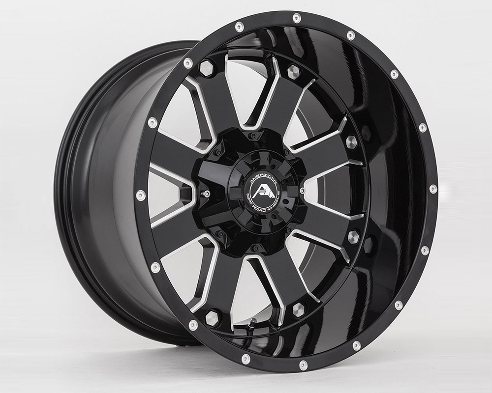 American Off-Road A10820A2865-44BMI A108 Black Milled Wheel 20x12 8x6.5 -44mm
