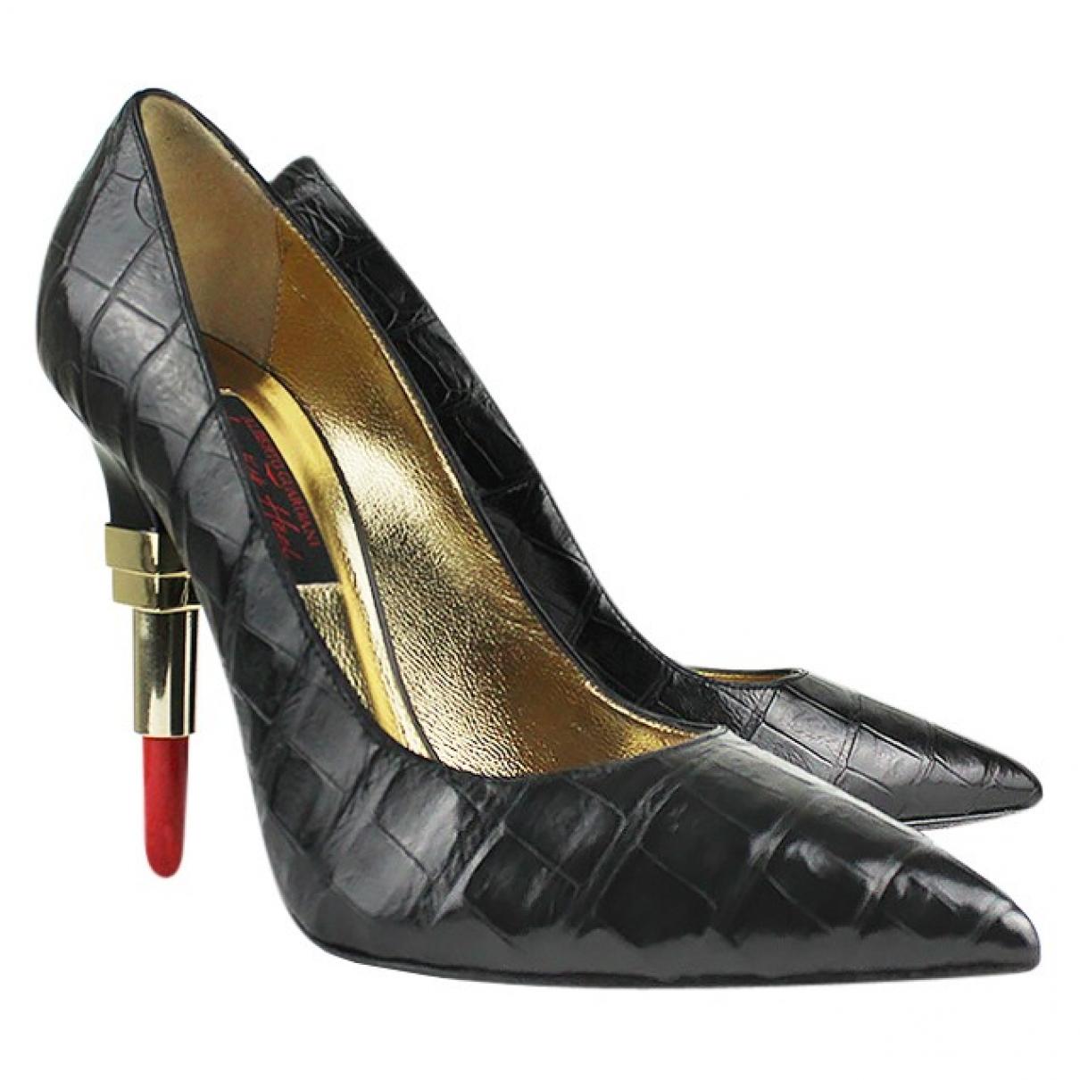 Alberto Guardiani \N Black Crocodile Heels for Women 37.5 IT