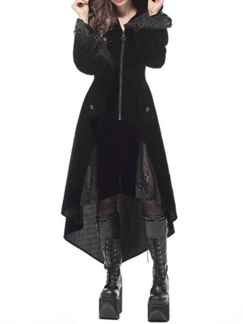 Ericdress Halloween Costume Long Zipper Hooded Long Sleeve Fall Trench Coat