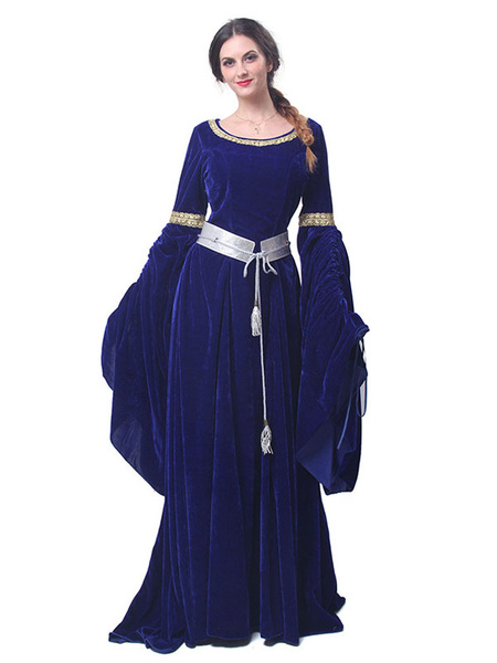 Milanoo Medieval Renaissance Costume Dress Retro Long Trumpet sleeve Velour Women Gothic Victorian era Clothing Gown retro Costume Halloween