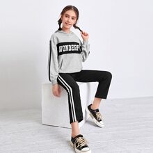 Girls Letter Graphic Striped Side Hoodie and Joggers Set