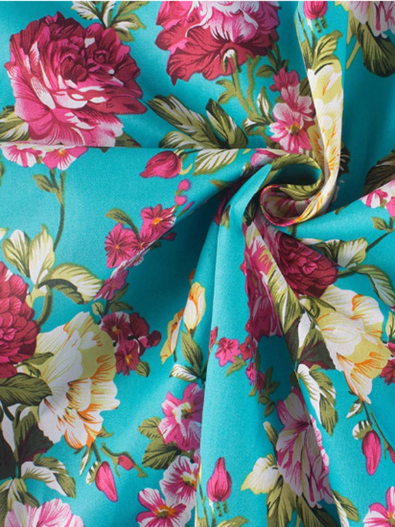 Ericdress Print Scoop Floral Women's Skater Dress