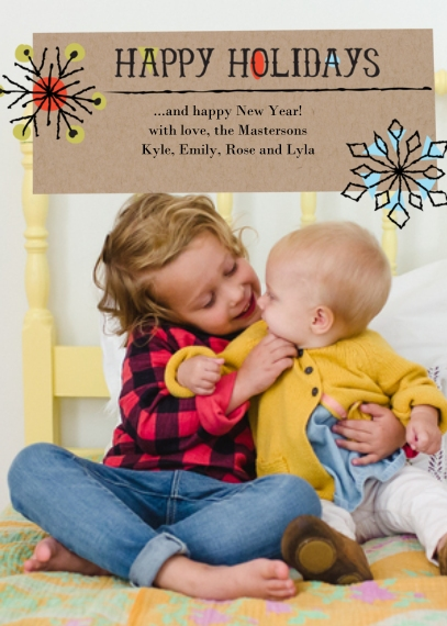 Holiday Photo Cards 5x7 Cards, Premium Cardstock 120lb with Scalloped Corners, Card & Stationery -Retro Snow