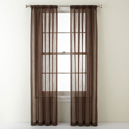 Home Expressions Sheer Rod-Pocket Single Curtain Panel, One Size , Brown