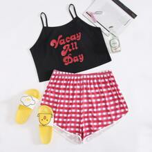 Plus Slogan Graphic Cami & Gingham Shorts Pajama Set
