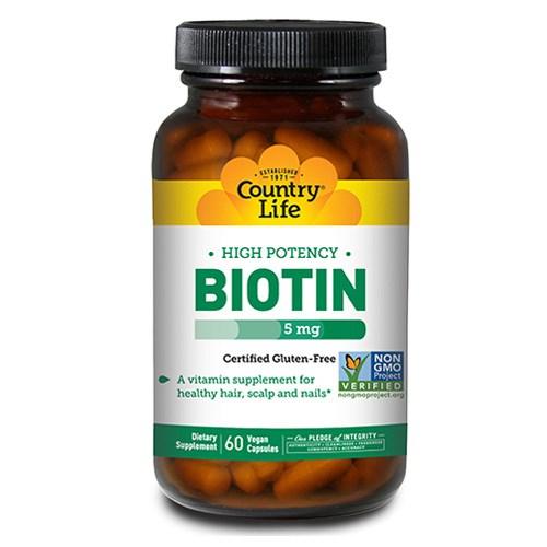 Biotin High Potency Vegetarian 60 Caps by Country Life