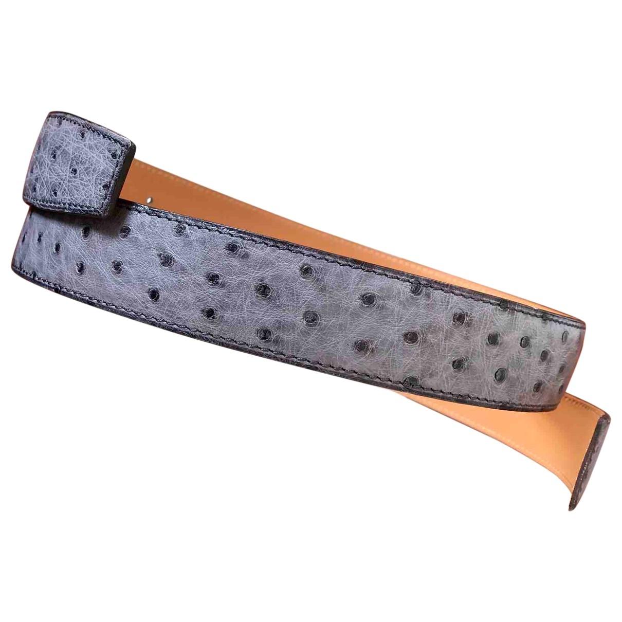 Hermès Cuir seul / Leather Strap Grey Ostrich belt for Women 95 cm