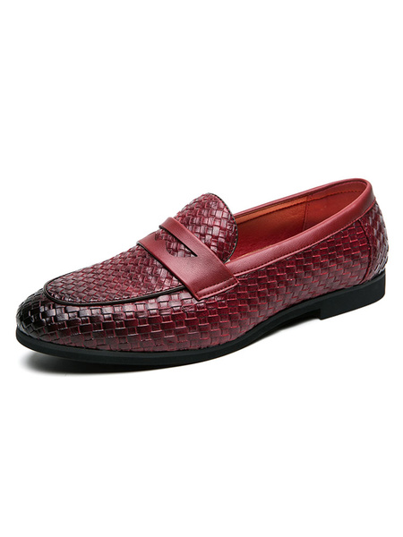 Milanoo Loafer Shoes For Men Black Plaid Slip-On PU Leather Party Shoes Dress Shoes