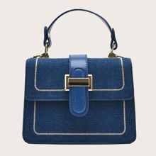 Stitch Trim Flap Satchel Bag