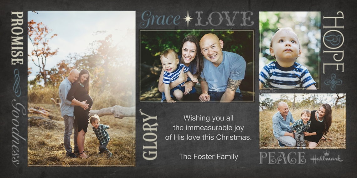 Religious Christmas Cards Flat Matte Photo Paper Cards with Envelopes, 4x8, Card & Stationery -Love Glory Hope Grace