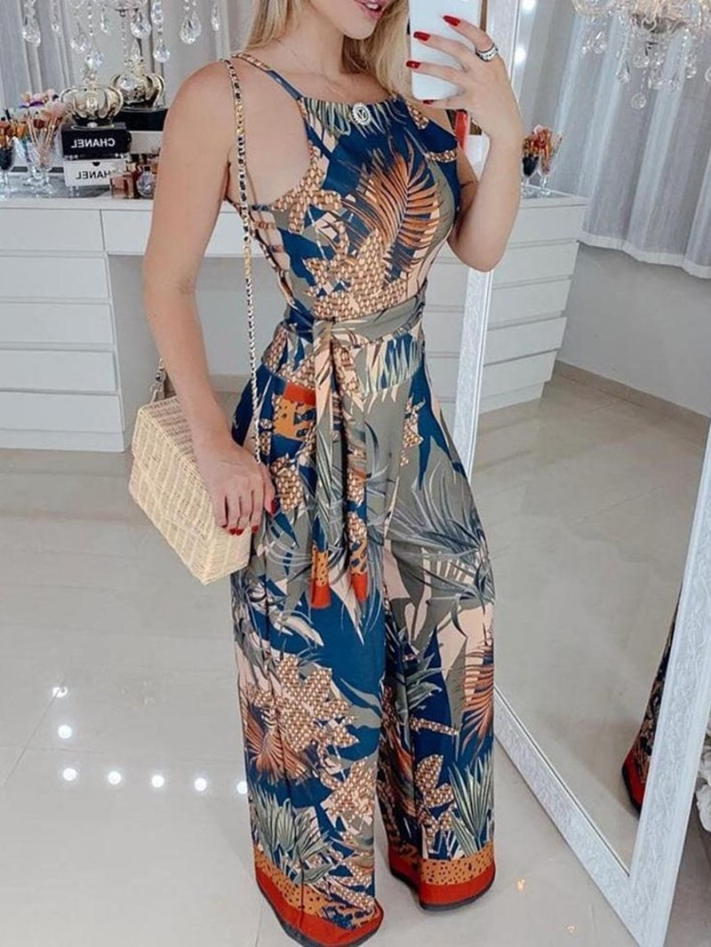 Ericdress Floral Print Strap Sexy Slim Jumpsuit