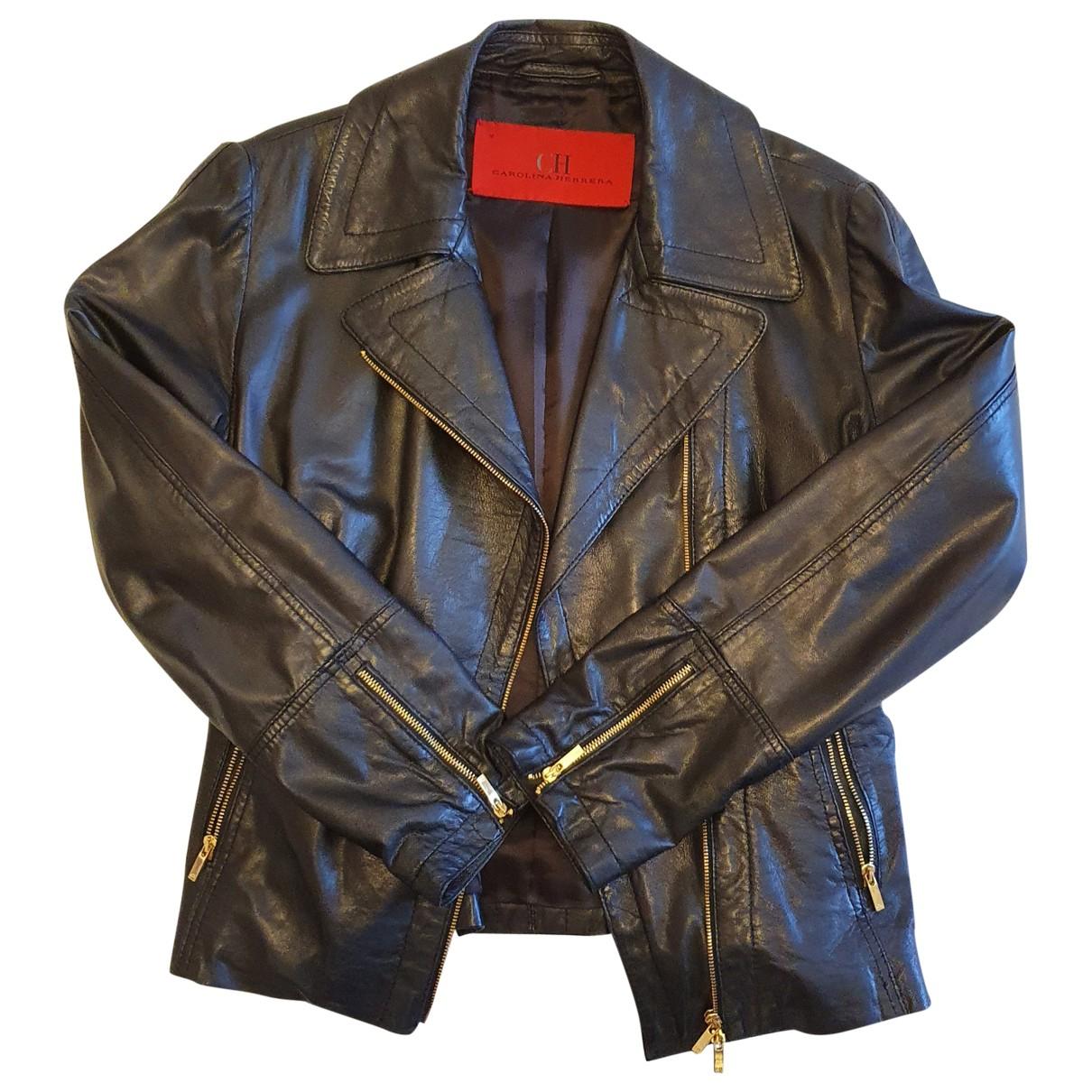 Carolina Herrera \N Black Leather Leather jacket for Women 36 FR