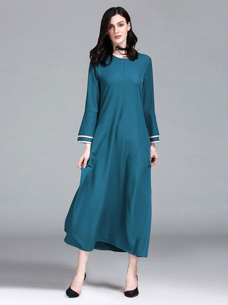 Milanoo Blue Abaya Dress Women Long Sleeve Round Neck Muslim Dress