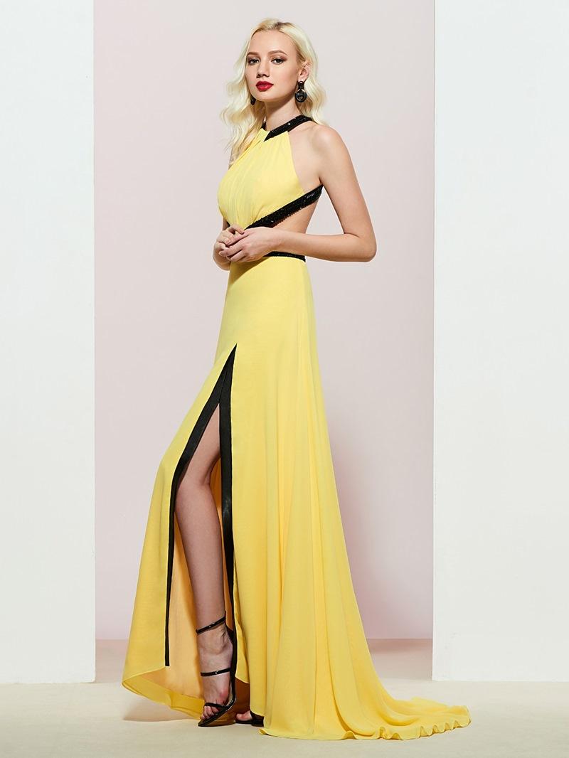Ericdress Halter Beading Split-Front Prom Dress