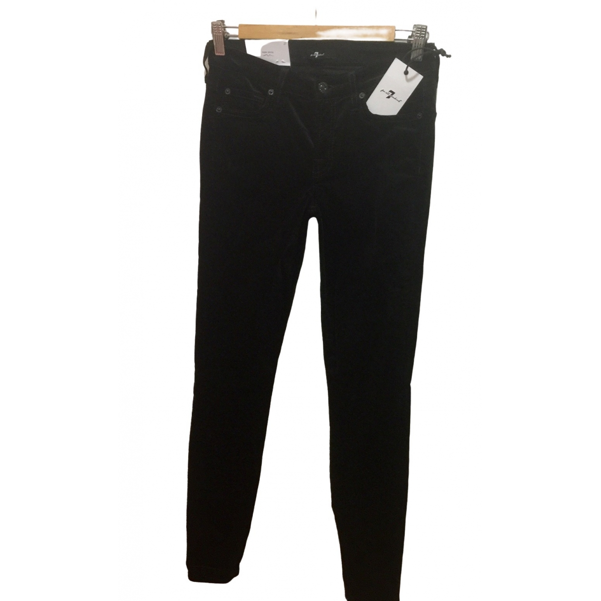 7 For All Mankind \N Black Cotton - elasthane Jeans for Women 27 US