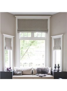 Solid Color Modern Style Cotton and Linen Blending Flat-Shaped Roman Shades