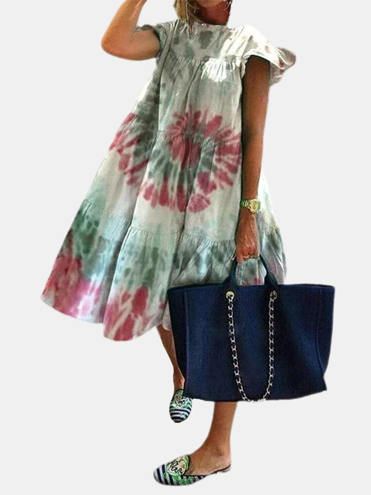 Tie-dyed Leaves Print Stringy Selvedge Sleeveless Dress For Women