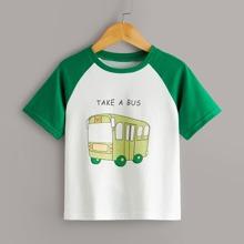 Toddler Boys Bus Print Baseball Tee