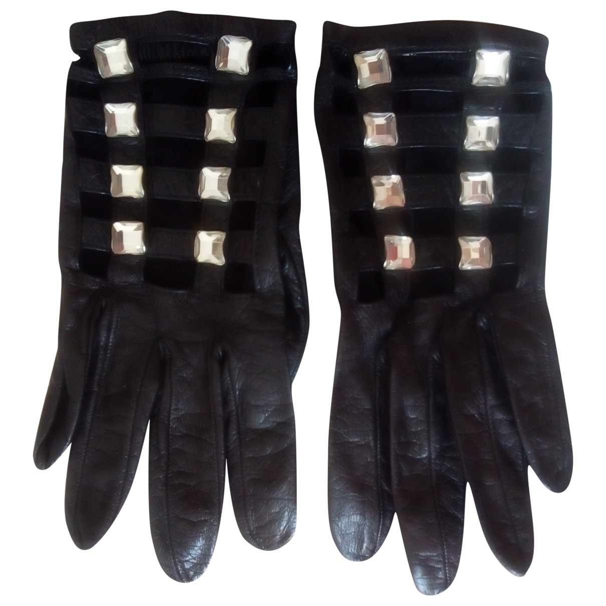 Non Signé / Unsigned \N Black Leather Gloves for Women 6.5 Inches