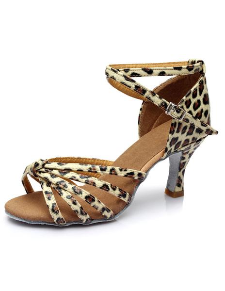 Milanoo Gold Latin Dance Sandals Straps PU Heels