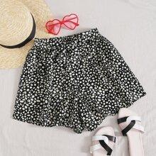 Dalmatian Print Belted Wide Leg Shorts